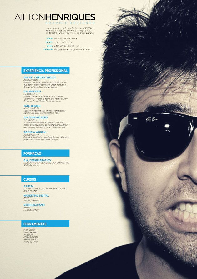 Cv By Henriques Ailton, Graphic Designer. What A Cool Résumé!  Graphic Designers Resume