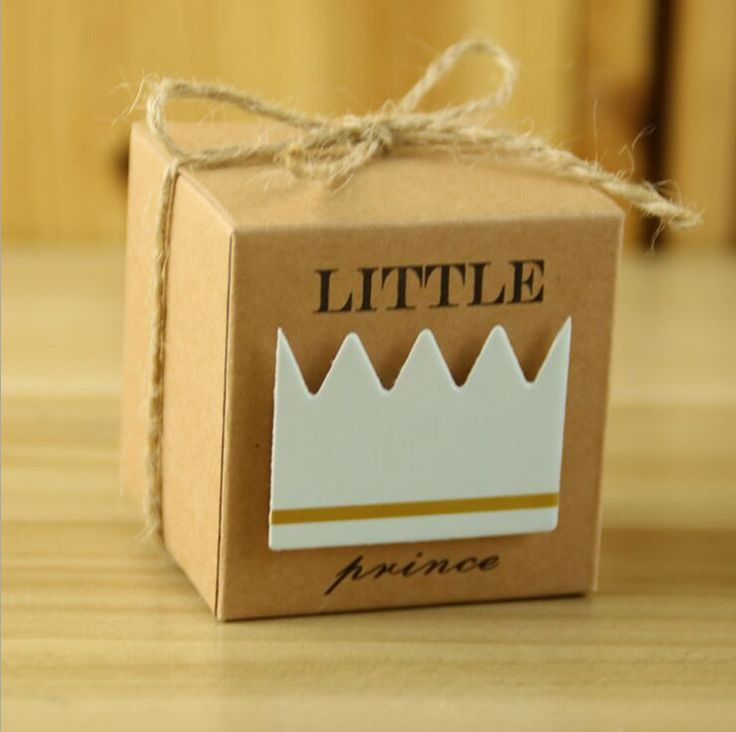 Little Prince Princess Brown Kraft Paper Gift Box Baby Shower Birthday Party Favors Candy Boxes with Crown and Twine 20pcs #Affiliate