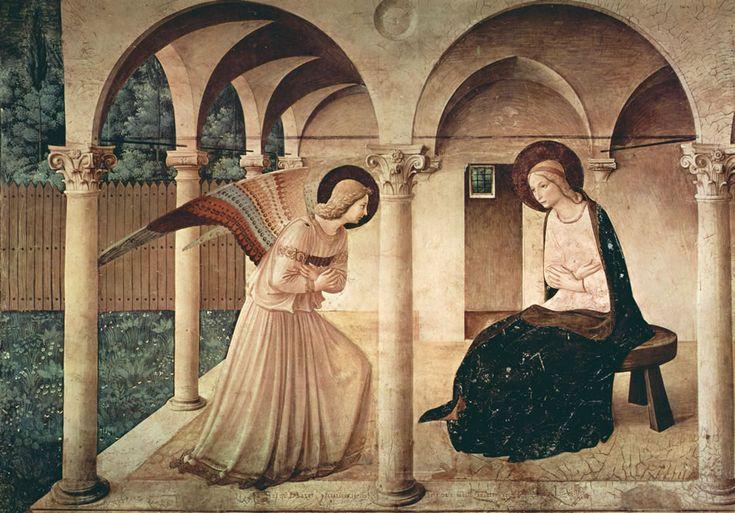 FRA ANGELICO (1400-55) Zwiastowanie, fresk, 1437-1446, Museo San Marco, Florencja