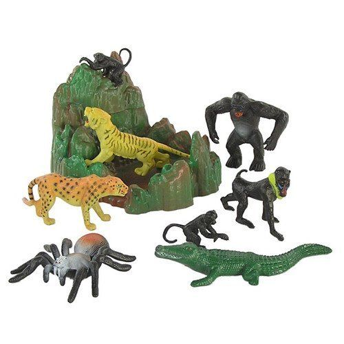 Jungle Bucket Playset 11 Wild Animal Figures With