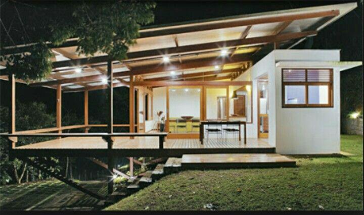 Banc faisant balustrade, toit léger sur module séparé / voir: isolation c/chaleur.