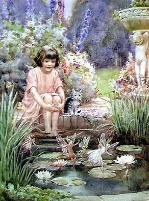 'The Water Lily Pond' by Margaret Winifred Tarrant (1888-1959)  English illustrator specializing in depictions of fairy-like children and religious subjects. She began her career at the age of 20, and painted and published into the early 1950s. She was known for her children's books, postcards, calendars, and print reproductions.