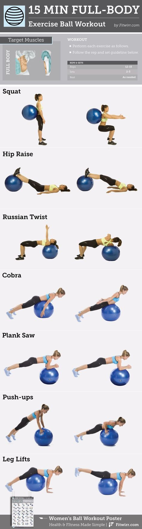 15-Minuten-Ganzkörperübungsball #Workout content @ www.pinterest.com – Sport-Uebungen