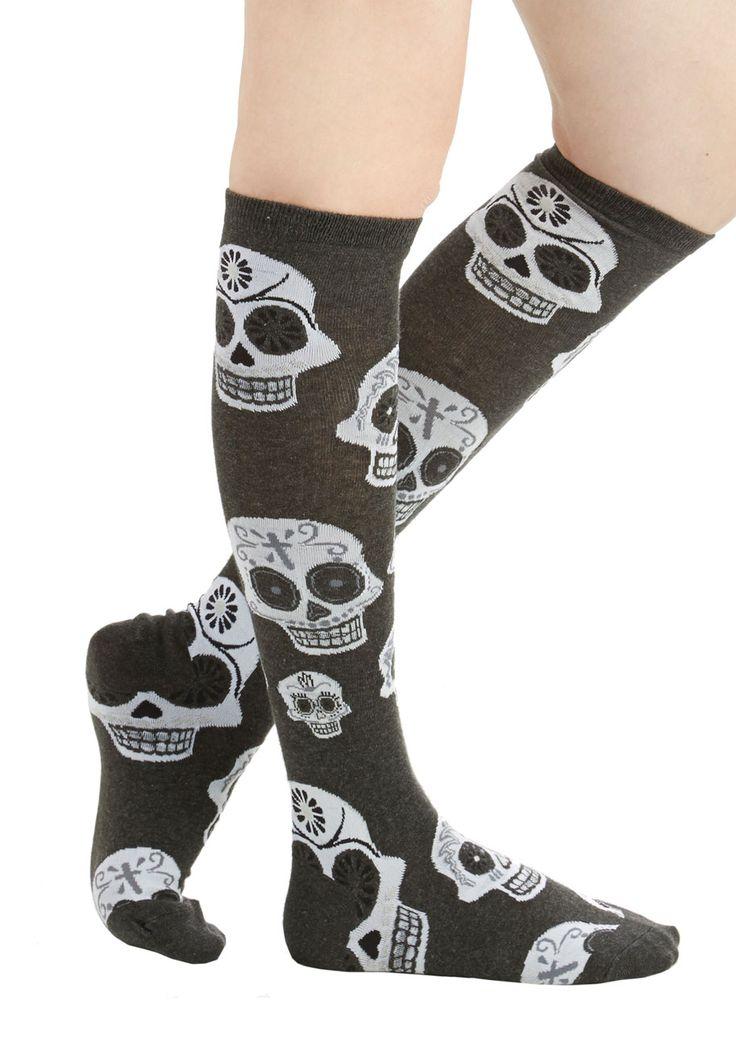 Give It Skull You've Got Socks - Multi, Halloween, Skulls, Knit, Grey, Novelty Print