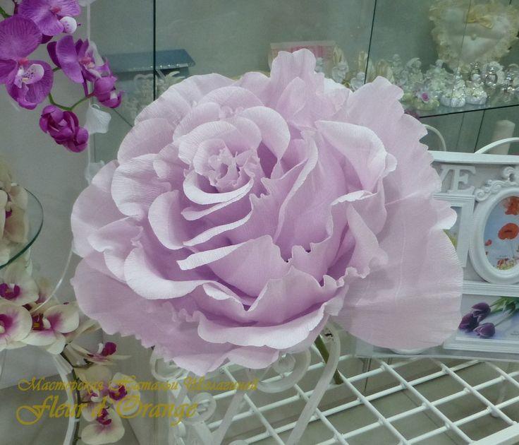 Огромные цветы из бумаги для праздничного декора. Роза 50 см в диаметре, на стебле или в кашпо.