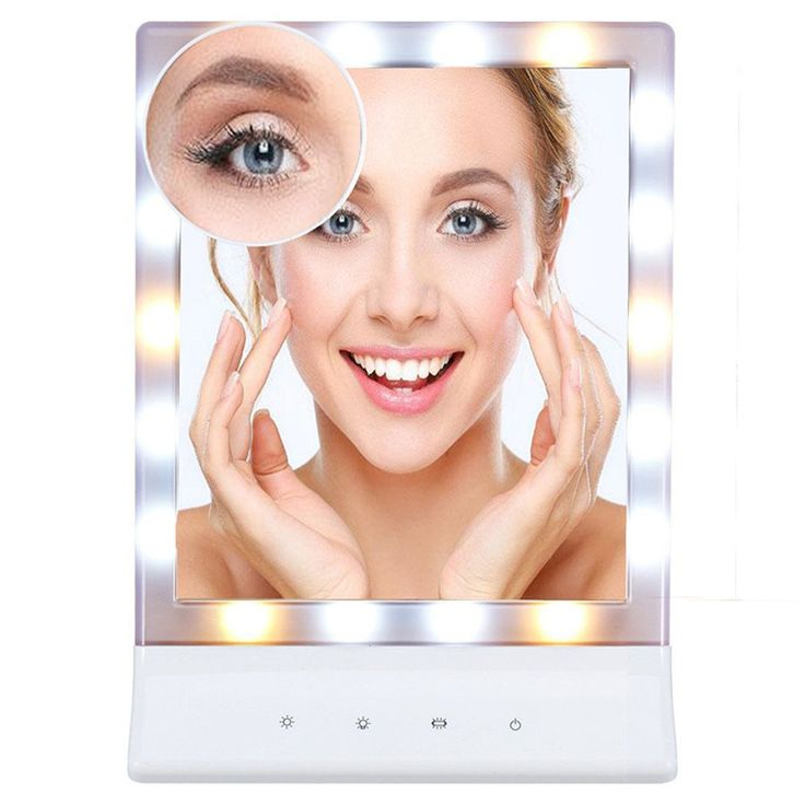 FLYMEI Multiple Illumination Settings Touch Screen LED Lighted Makeup Mirror with Removable 10x Magnifying Vanity Mirror, Wall Mount Cosmetic Mirrors with Lights (White)