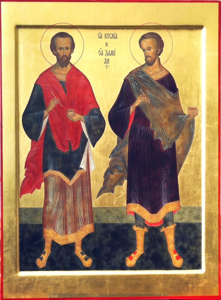 """St. Cosmas and st. Damian. 2012. Wood, gesso, tempera, gilding. 19,69""""x 14,57"""". Church of the Most Holy Theotokos """"Inexhaustible Cup"""" in Brooklyn, NYC (USA)."""