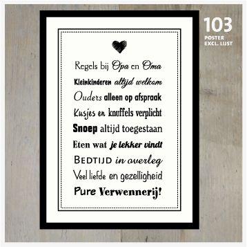 Poster Regels bij Opa en Oma