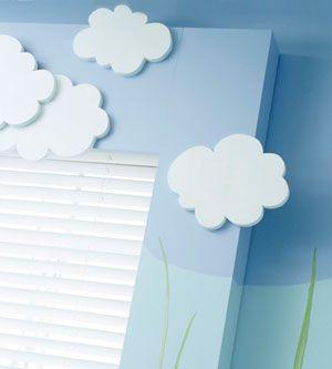Three-D clouds in a kids room :)