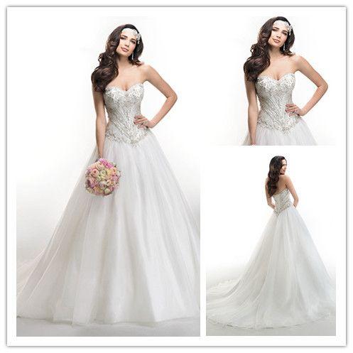 Дешево-милая бисероплетение линии длинные платья для свадьбы 2016 vestido де noiva старинные спинки свадебные платья женщины