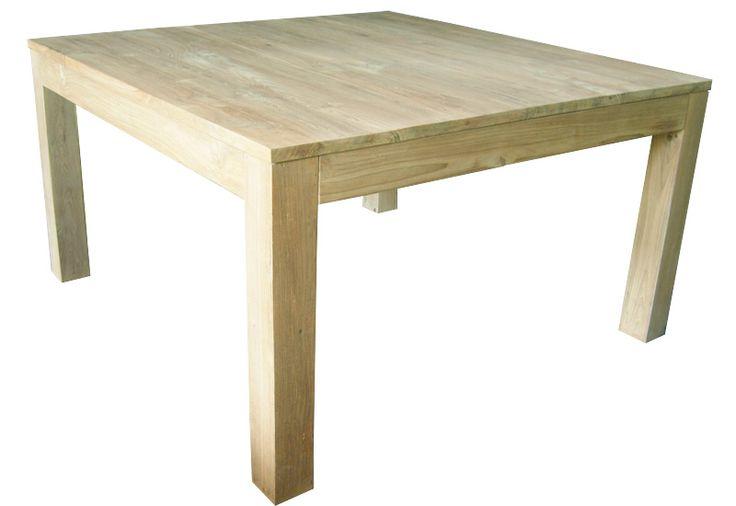 Table de salle a manger carrée vieux teck recyclé naturel