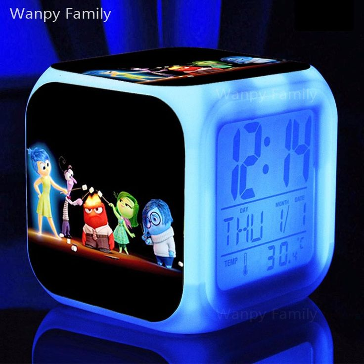 Animated Comedy Inside Out Alarm ClockColor Change Digital Clocks For Kids Birthday Gift