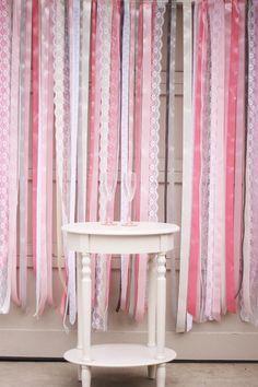 DIY Wedding : DIY Ribbon + Lace Backdrop