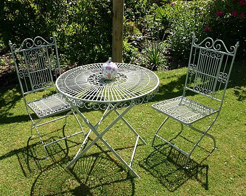 Powder coated mild steel folding round table and chairs