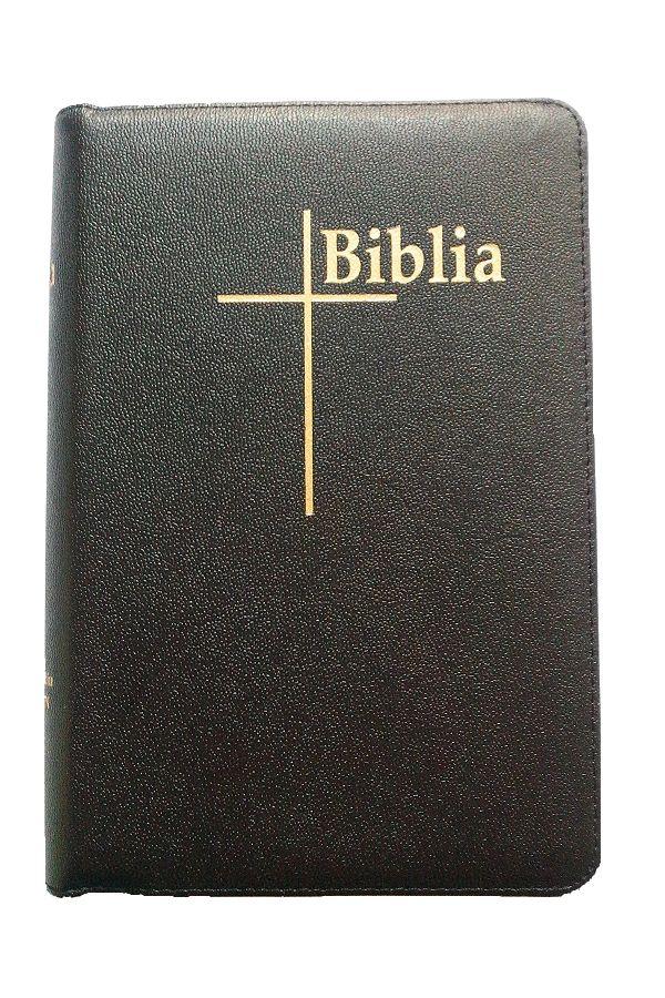 Biblia Thompson, marime medie, piele, neagra, fermoar, margini aurii, index