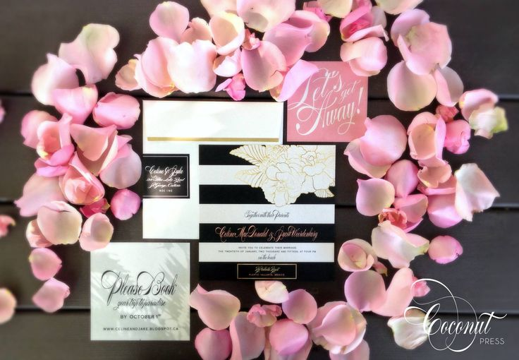 Glamorous destination wedding invitations // tropical inspired with floral & gold accents // glamorous beach wedding // invitations & design by Coconut Press