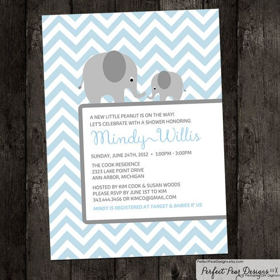 "Baby Shower Invitation boy, twins, neutral ""Little Peanut on the way"" Chevron - baby elephant, blue, turquoise, grey - DIY Digital Printable..."