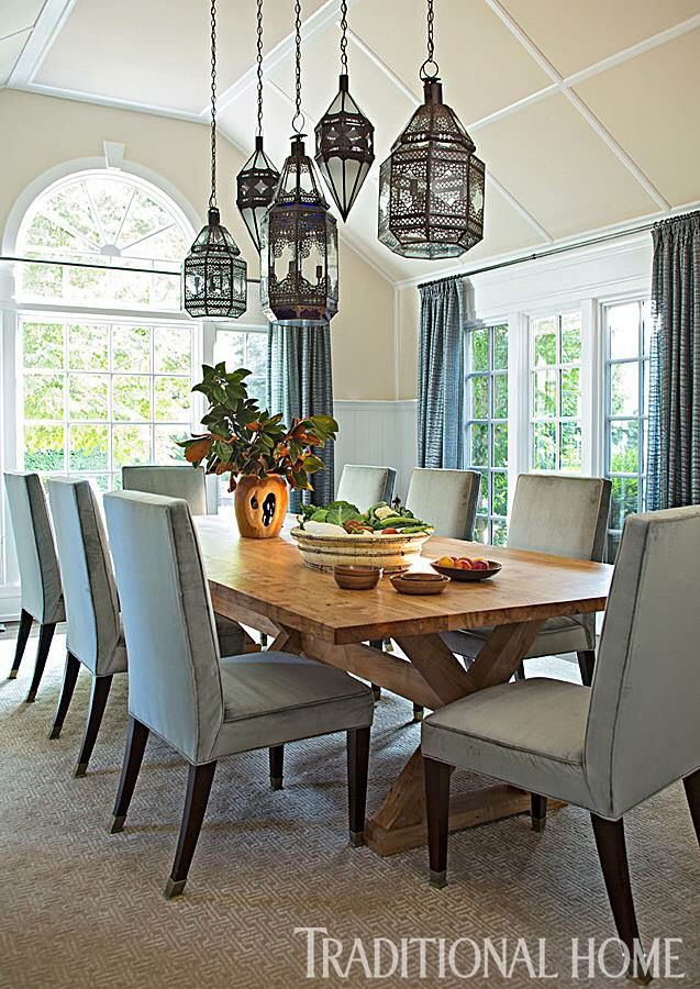 Stylish traditional dinning room · dining room light fixturesdinning
