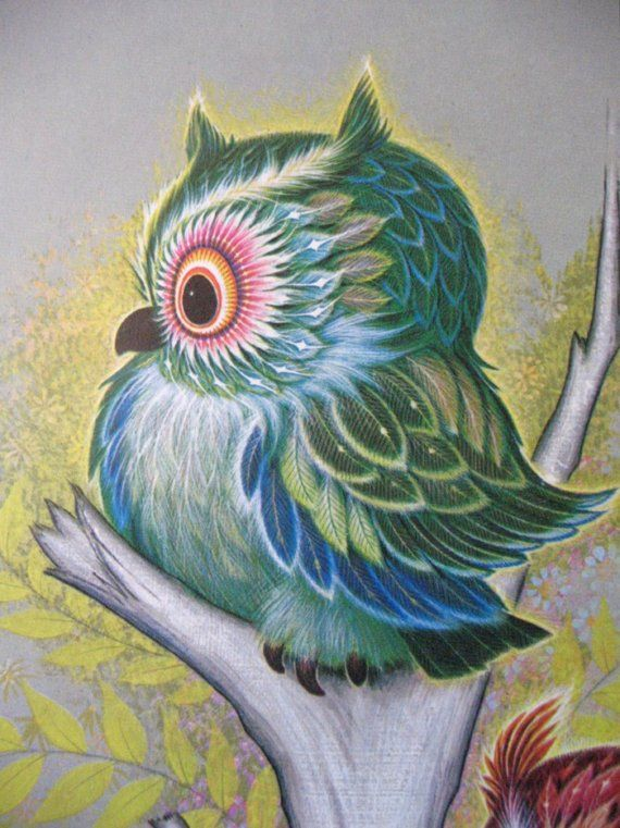 vintage owl by K Chin I have 3 kittens and 3 unicorn prints!