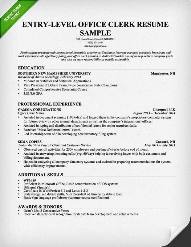 EntryLevel Office Clerk Resume  Download this resume sample to use as a template for writing