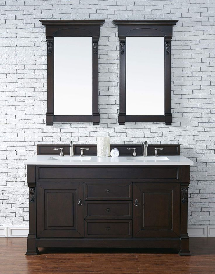 Photo Of Brookfield Burnished Mahogany Double Vanity with CM Snow White Quartz Top
