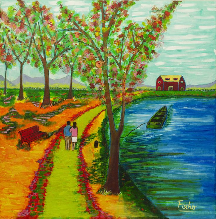'Going back home', We're walking guided by love. Acrylic on canvas #art #painting #followart #canvas #Chile #amor #artist #colorful #fischerart #love
