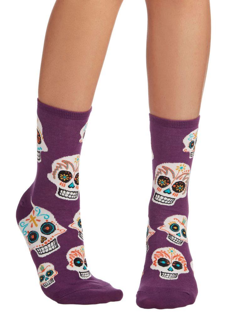 Get a Head Start Socks - Purple, Multi, Halloween, Quirky, Skulls, Knit, Novelty Print, Casual