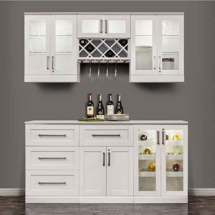Outfit Your Homes Kitchen Or Furnished Basement With This White Shaker Style Bar Set From NewAge Products The Assorted Wine Racks Hold Up To 45 Bottles
