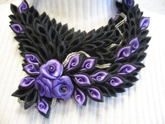 Flower Handmade Beadwork necklace kanzashi