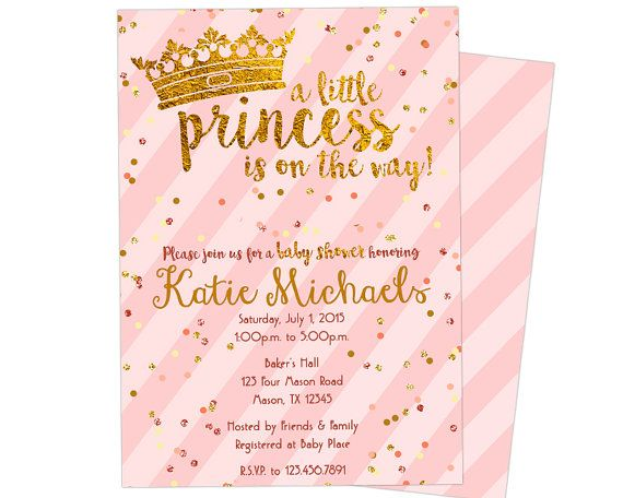 Princess Baby Shower Invitations   Pink And Gold Princess Baby Shower  Invite   Crown Princess Girl Baby Shower Invites   Tiara Sprinkle From Party  Print ...