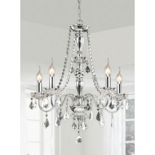 This traditional five-light chrome crystal chandelier elevates the decor of your home.