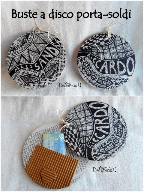 decoriciclo: Buste a disco porta-soldi, riciclose e disegnate a mano