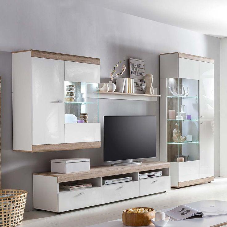 TV Anbauwand In Weiss Hochglanz Eiche Hell LED Beleuchtung 4 Teilig Jetzt Bestellen Unter Moebelladendirektde Wohnzimmer Schraenke Wohnwaende