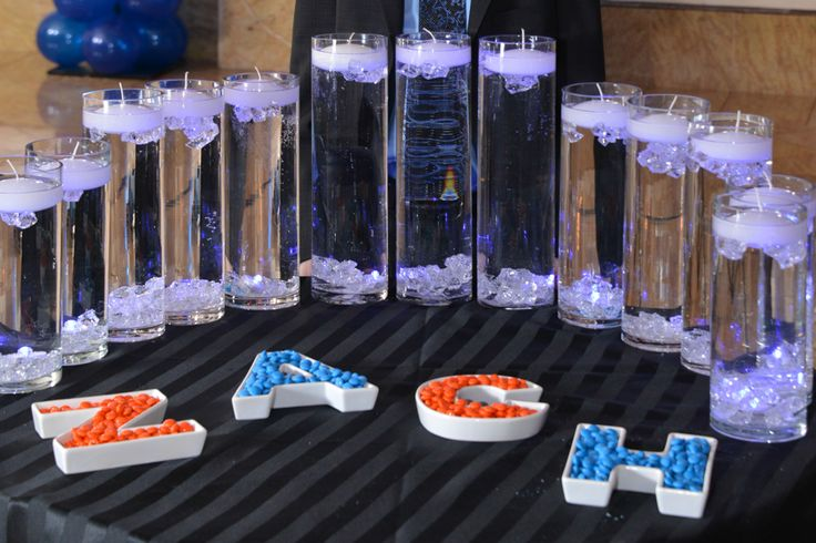 Vases with Crystal Chips, Water  floating candles and name