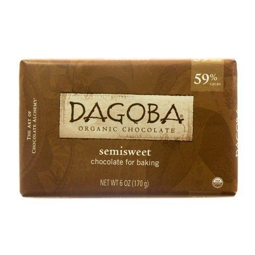 Dagoba Chocolate Organic Baking Semi Sweet Dark Chocolate Bar, 6 Ounce