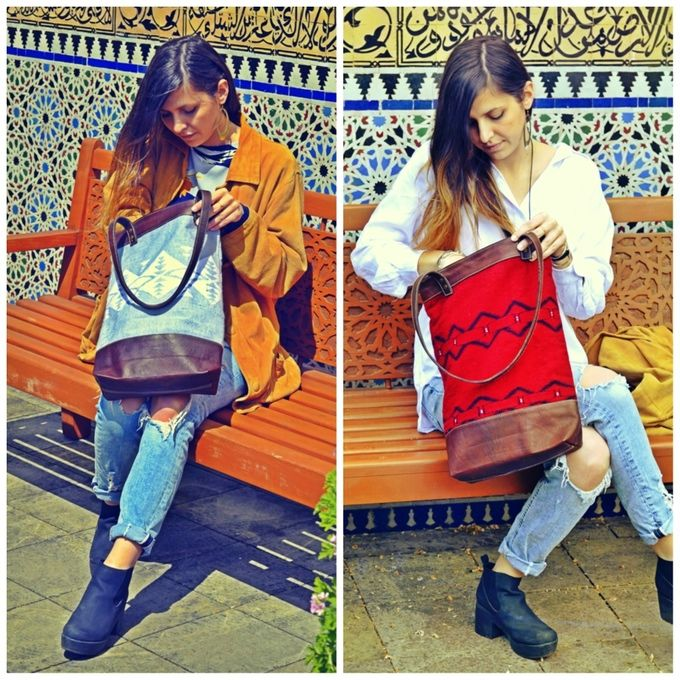 MEDINA (Customize your bag): Leather and Kilim Carpet (handemad by women's cooperative in Midelt) combination, 100% handmade. Dimensions: 35cmx45cmx10cm  http://www.yunikun.com/Customize-your-bag