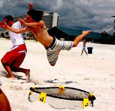 Volleyball in a smaller, more entertaining Spikeball
