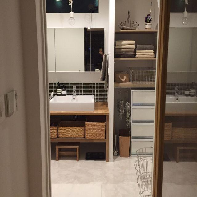tSaさんの、Bathroom,無印良品,タイル,ディスプレイ,新居,シンプル,洗面室,シンプルライフ,名古屋モザイクについての部屋写真