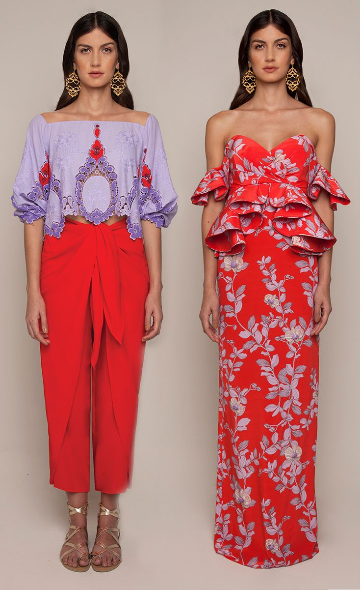 Johanna Ortiz Resort 2016 - Josefina Embellished Top and Cardamomo Pant, Bougavillea Embellished Dress