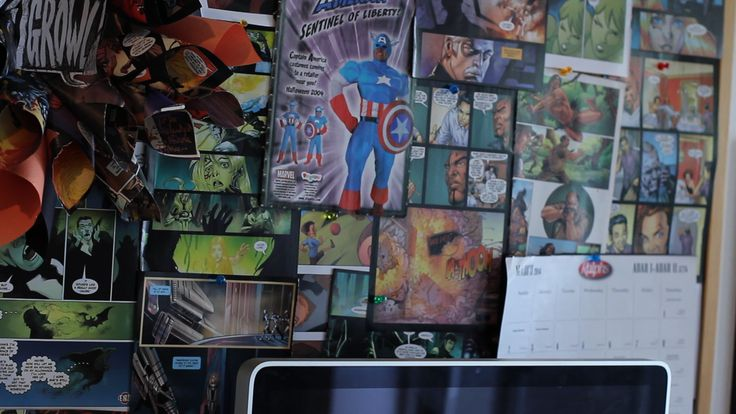 CLICK THE PIC FOR MORE: Create a cheap comic book collage background on your corkboard using 25 cent comics or recycling old ripped comics!