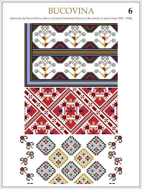 Semne Cusute: ie din BUCOVINA Modele de ii Romanesti din caietul elevei Furcoi Elena, de la Liceul Industrial Sericicol Bucuresti, care a desenat aceste planse in clasa a VIII-a, anul scolar 1941 - 1942
