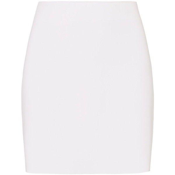 Helmut Lang Scuba Mini Skirt ($320) ❤ liked on Polyvore featuring skirts, mini skirts, white, neoprene skirt, stretchy skirt, pull on skirt, short skirts and short mini skirts