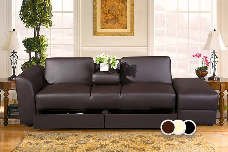 Faux Leather Sofa Bed, Drawers & Footstool - 3 Colours!