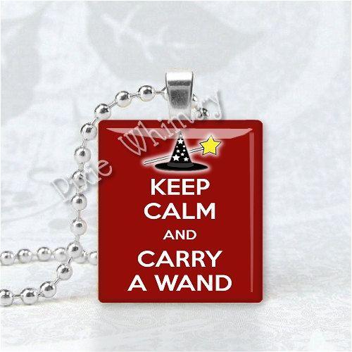 KEEP CALM And Carry A Wand Scrabble Tile Art Pendant Charm