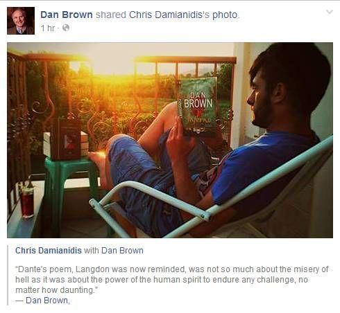O Dan Brown μοιράζεται μαζί μας την φωτογραφία ενός έλληνα αναγνώστη του βιβλίου του, Inferno!