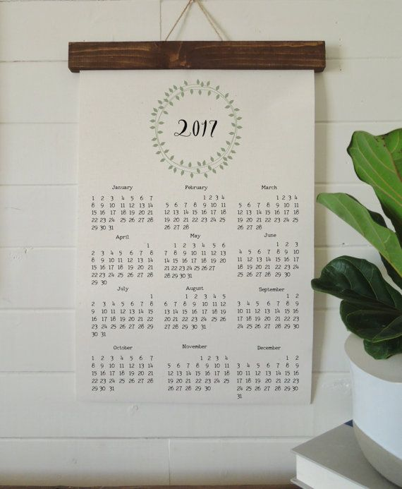 2017 calendar with sage green laurel wreath two options print only for you to