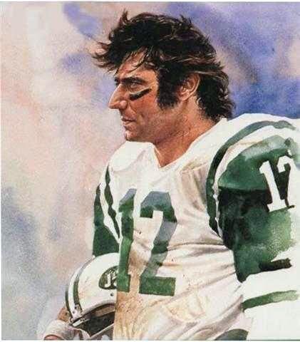 NY Jets QB Joe Namath, painting by Merv Corning.