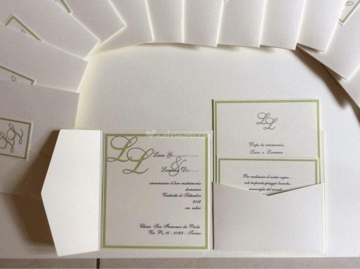 Partecipazione Pocket Iniziali Simple wedding Pocket invitation Monogram @Gli Acquerelli di Loredana