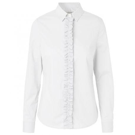 Elise Gug hvid skjorte, hvid klassisk skjorte med flæsebånd foran ved knaplukningen str 36. 1700kr i Abelone i Holte