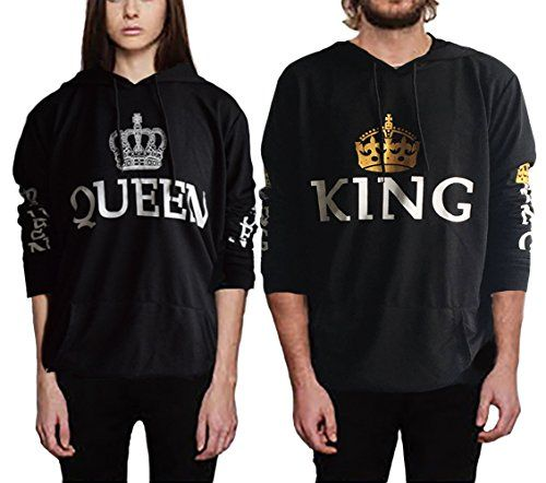 king queen Sweatshirt Pullover Pärchen mit Kaiserkrone Hoodie Casual